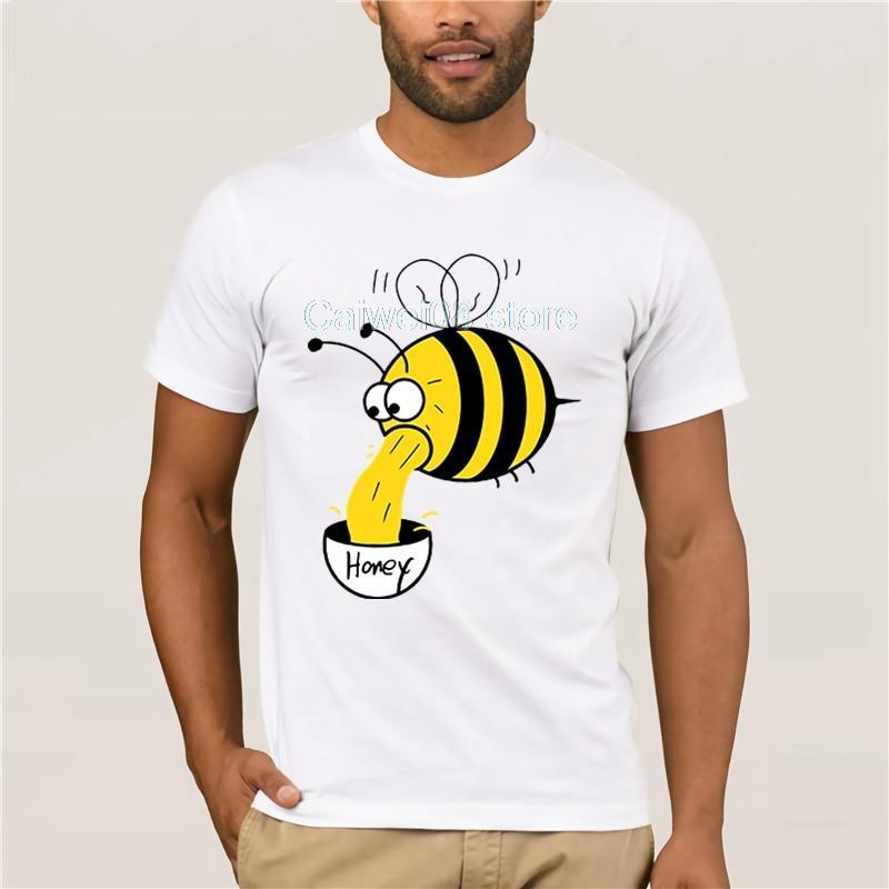 Stile di Hip Hop Summer Fashion manica corta Bee Honey Brewed Stampa cartoni animati di ape gialla Art Cool Top Boy Felpa con cappuccio Felpa con cappuccio degli uomini della maglietta