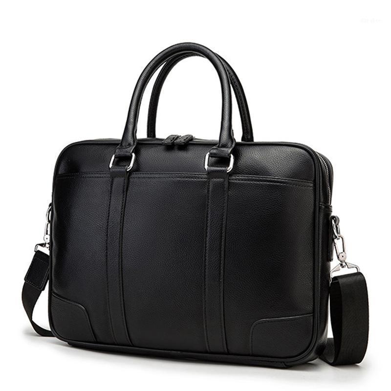 2021 Neue Mann Handtaschen Laptoptasche Büro Reise Messenger Bags PU Leder Männliche Aktentasche Große Kapazität Tote Dokument A4 für Männer