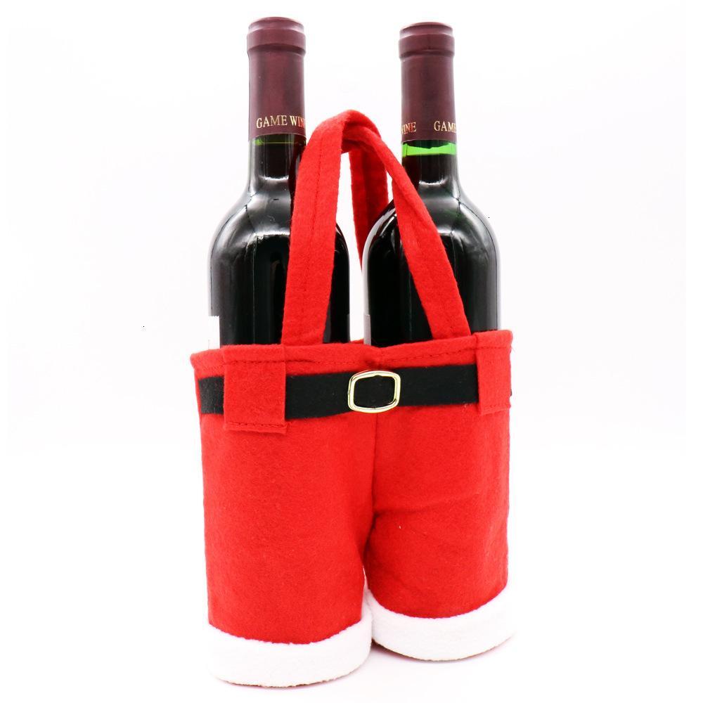 FACTORY4N2IBOTTLE CLAUS FACTORYU6F51PCS Bolso Santa Merry Suspender Pantalones de vino Pantalones Decoración de Navidad Fiesta Navidad Candy Bolsas de regalo C1