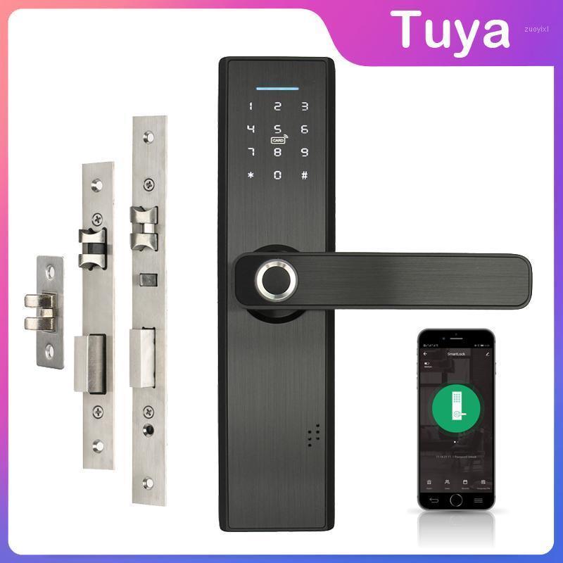 واي فاي قفل الباب الإلكترونية مع الهاتف المحمول tuya التطبيق بصمة 13.56 ميجا هرتز ic بطاقة كلمة المرور فتح غير مفيد ذكي lock1
