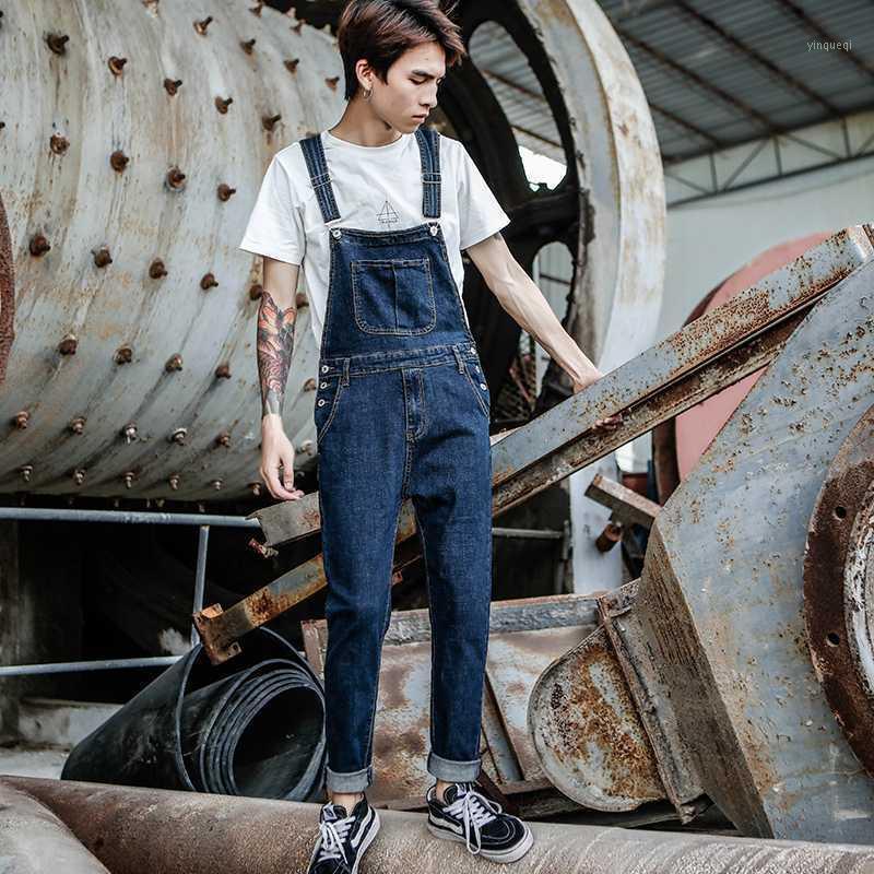 2020 New Men's Harajuku Denim macacão Versão coreana dos homens dos pés de auto-cultivo estiramento jeans cinta azul calças1