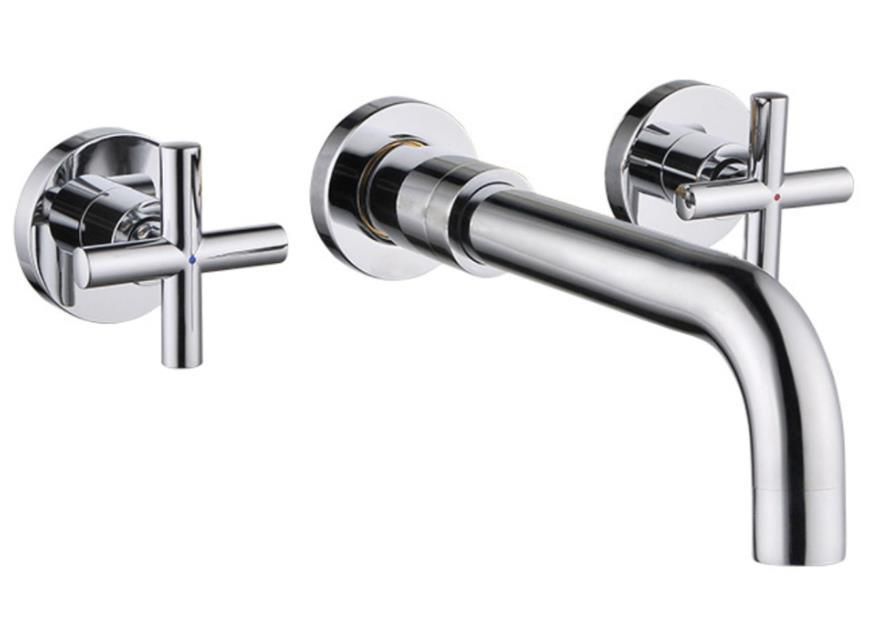 Wall-mount cross chrome faucets Bathroom Faucet Brass Wall Mounted Single Handle Mixer Sink