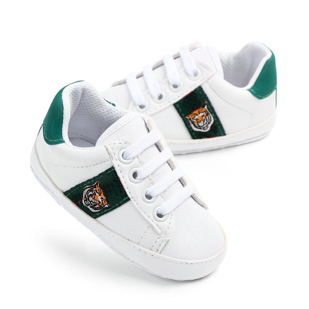 Маленькая тигровая детская обувь новорожденных мальчиков девочек первые ходунки дети кружев на кроссовок PU 0-18 месяцев