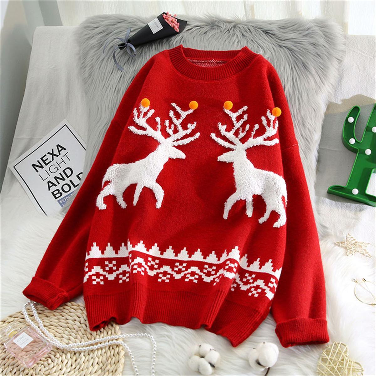 Camisola do Natal Leiouna solto Grosso com cervos Jumper Moda feminina blusas pulôver inverno quente roupas de outono Femme sweather Q1114