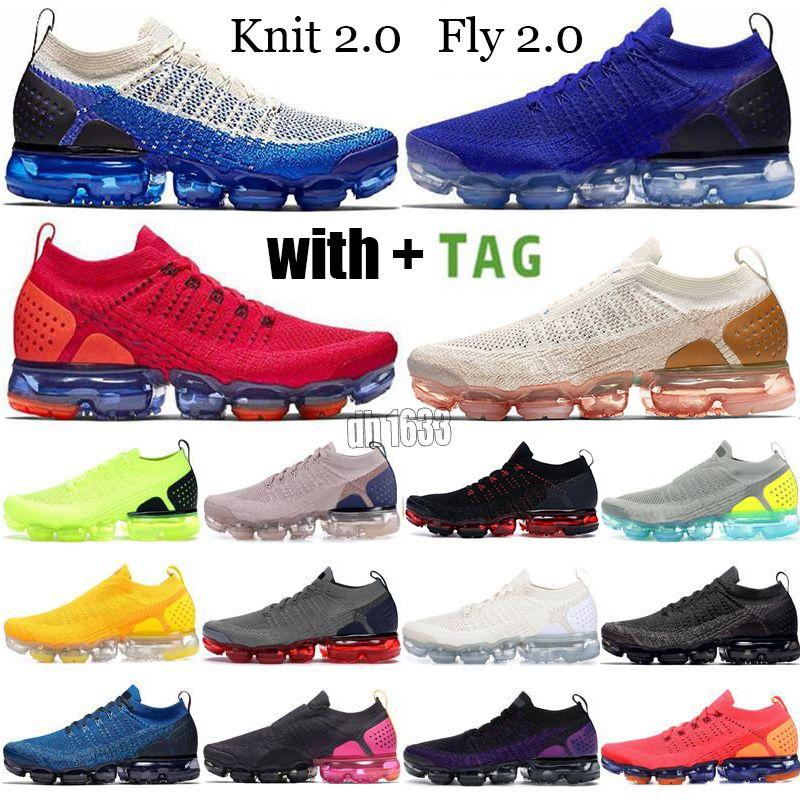 2021 Almofada de alta qualidade Correndo Tênis Triplo Black White Safari CNY Red Mens Mulheres Esportes Sneakers Knit 2.0 Fly 1.0 Volt Trainer Tamanho 36-45