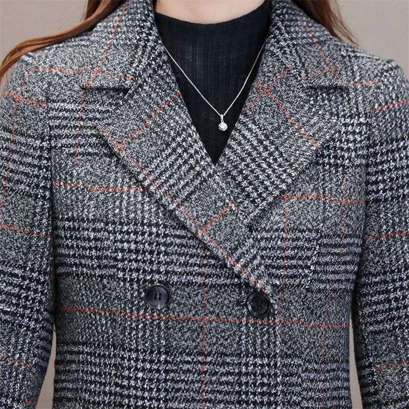 Зимние женские шерстяные смеси вскользь куртка для куртки плед окорок элегантный стройный толстый верхняя одежда кардиган женский кашемир пальки updooat новый 201222