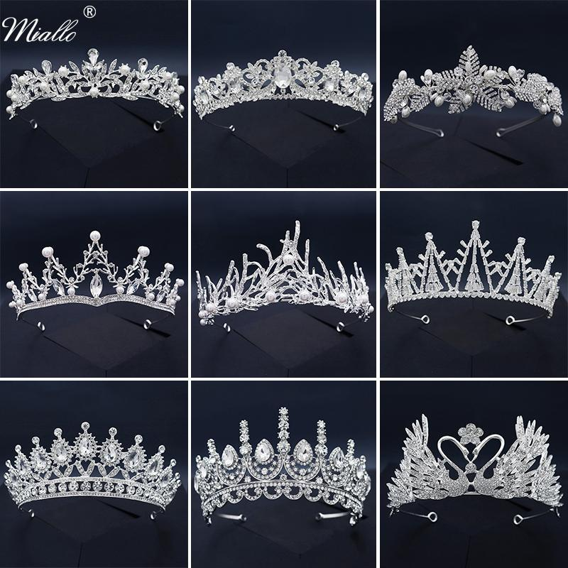 Miallo Bridal Wedding Accessories Crystal Hair Crown for Women Hair Jewelry Silver Color Tiaras and Crowns Party Headpiece Gift