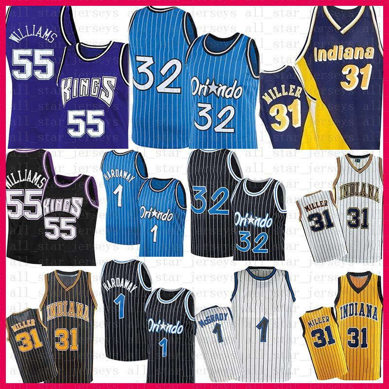 Mens Penny 1 Haríway Tracy 1 McGrady 32 Jerseys Retro Jason 55 Williams Reggie 31 Miller Basketball Jersey