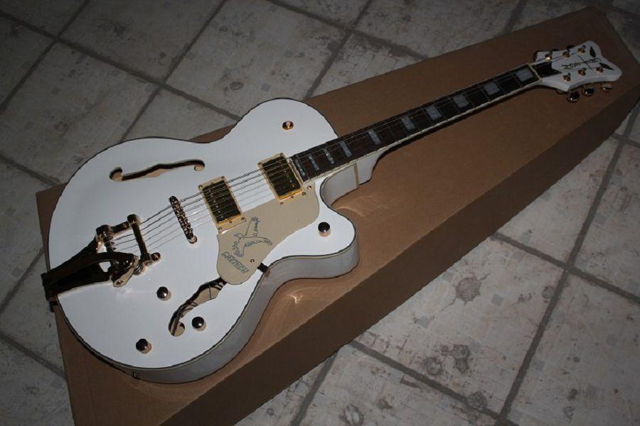 Tastiera in palissandro THE WHITE FALCON 6120 Semi corpo cavo Jazz coreano sintonizzatori chitarra elettrica con tremolo @ 32
