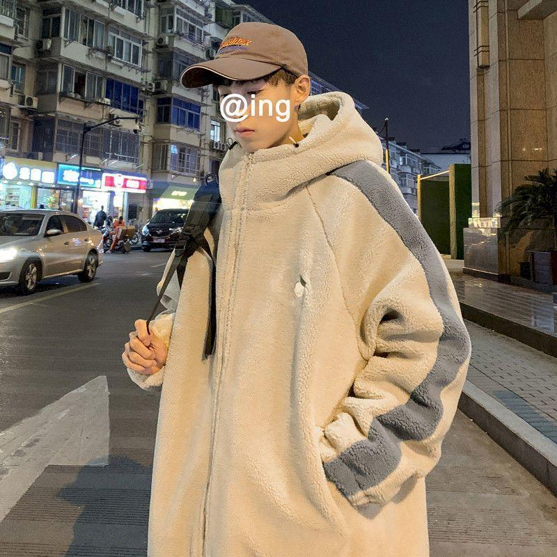 Hong Kong style cotton coat jacket lamb plush men's winter Korean version of the loose trend cotton coat male youth cotton coat 201028