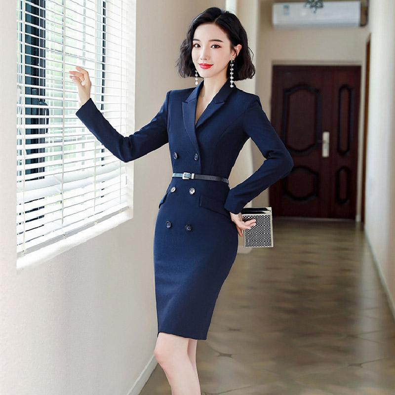 средний и длинный офис платье элегантный тонкий леди 2020 Autumn профессиональный женщин платья с поясом ола пригородной