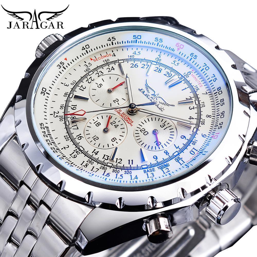 Jaragar Branco Dial relógio automático calendário completo de prata aço inoxidável Luminous Negócios, Desporto Mecânica Data Relógio de pulso
