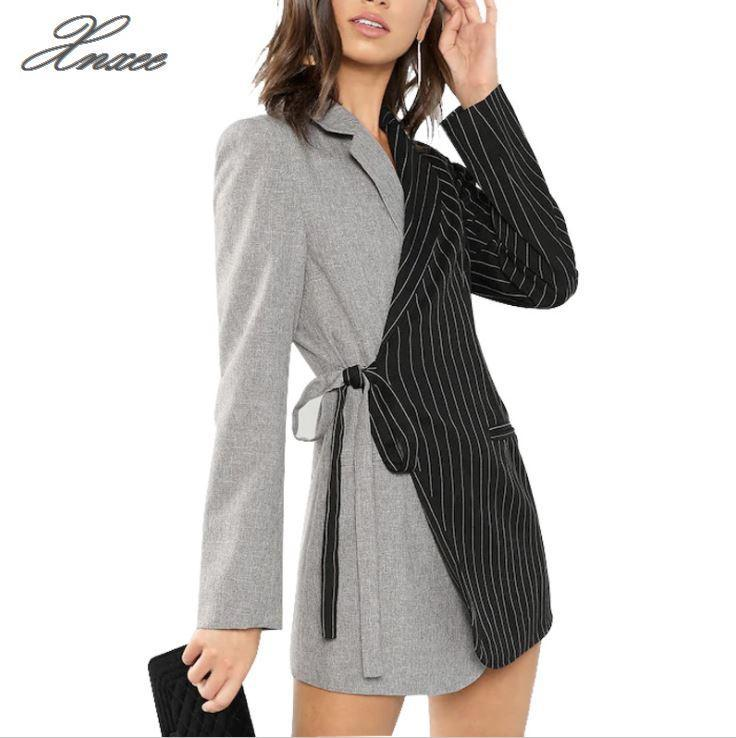 Autumn Women Blazers And Jackets Colorblock Tie Waist Surplice Wrap Womens Blazer Notched Outerwear Ladies Long Coat