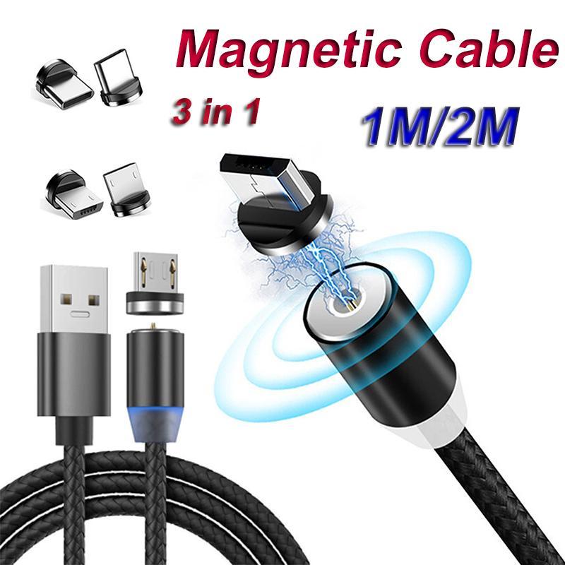 3 في 1 كابلات USB المغناطيسي محول سلك شاحن خط النايلون الشحن السريع الحبل نوع C مايكرو لمدينة سامسونج هواوي XIAOMI