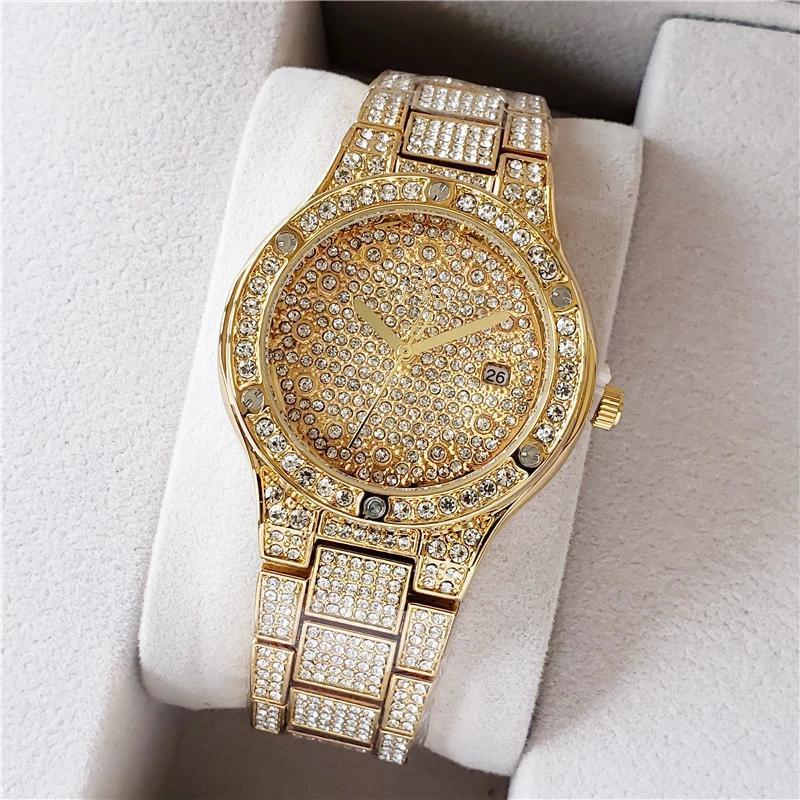 Shinning Diamond Watch Work Herren Luxus Uhren Euro Eile Herren Men Quartz