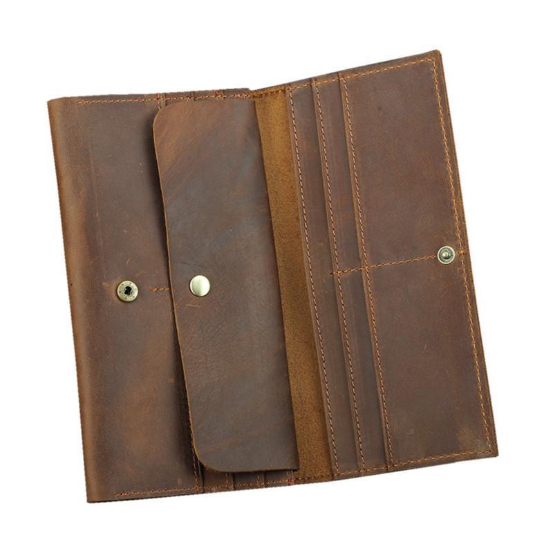 Handmade retro de couro genuíno longo homens carteira telefónico portador de passaporte organizador louco cavalo carteira masculino