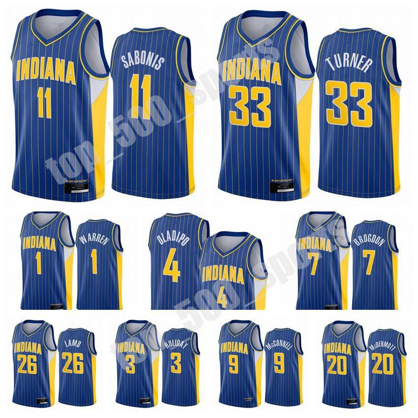 인디애나 아페이서 남자 빅터 Oladipo Domantas Sabonis Myles Turner 2020/21 Swingman 도시 농구 유니폼 블루 아이콘 버전