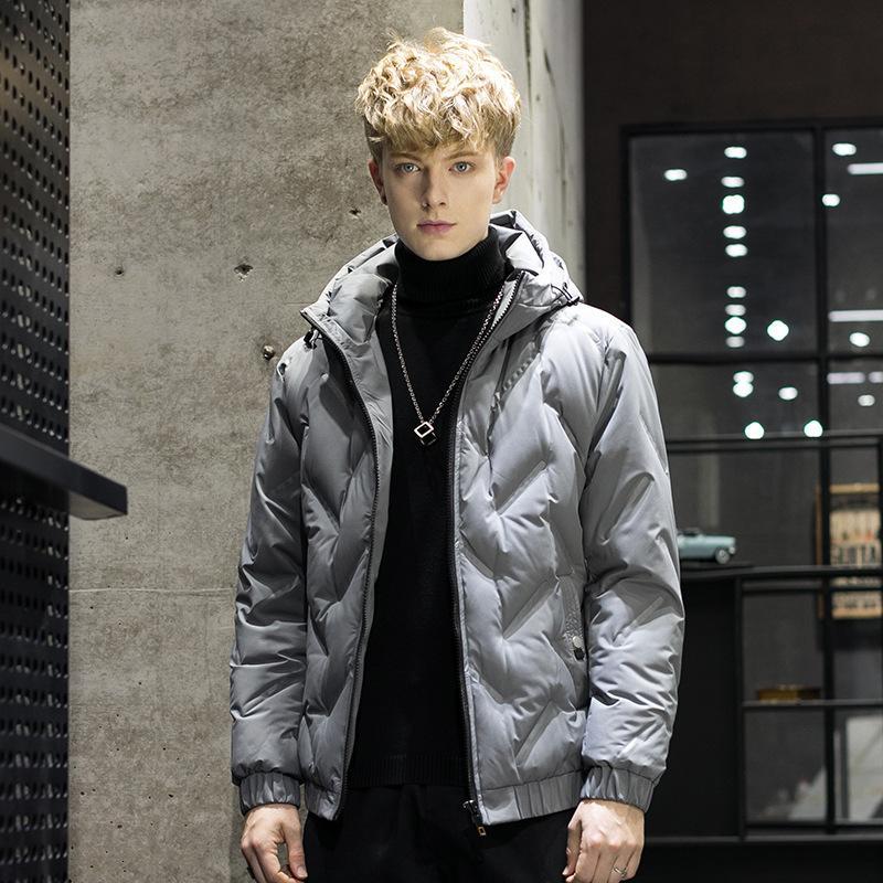 Vêtements pour hommes d'hiver Tendance Nouvelle capuche Simple Mode 80 WARM Velvet Down Jacket Men