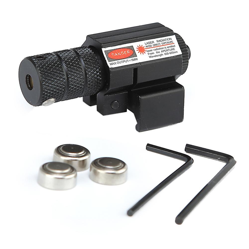 Алюминиевый сплав Матовый черный тактический красный лазерный прицел 1 МВт Мини Красное точечное зрение с 20-мм рельсовым креплением и выключателем линии хвостовой линии.