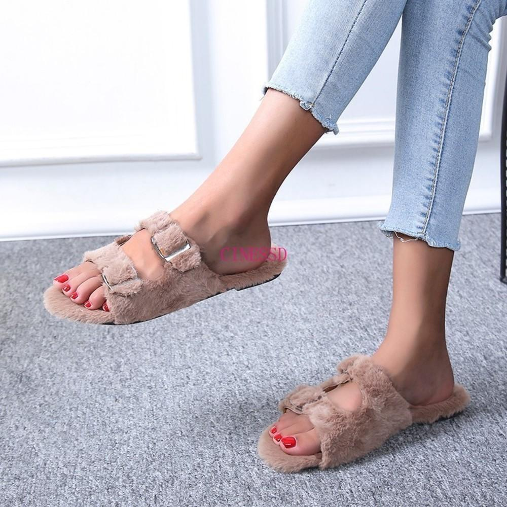 Autumn/winter New 2020 Women Home Warm Fox Fur Soft and Comfortable Slippers Flat Bottom Non-slip Buckle Flip Flop Ms05