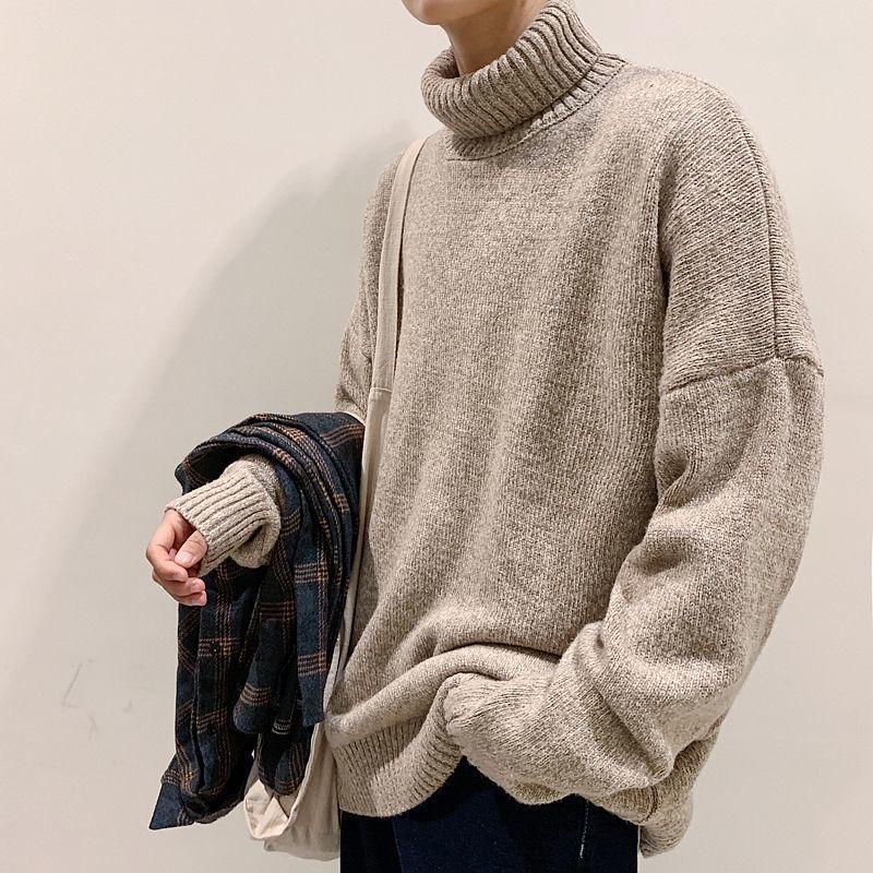 2020 inverno nuovo uomo solido colore coreano maglione allentato moda casual collo alto pullover grande taglia M-5XL