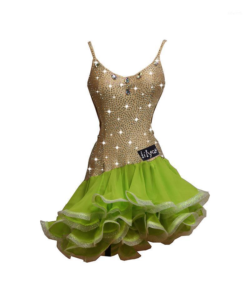 Costume de danse latine personnalisée, robe de performance, robe de compétition, suspenseur, jupe de poisson fluorescent1