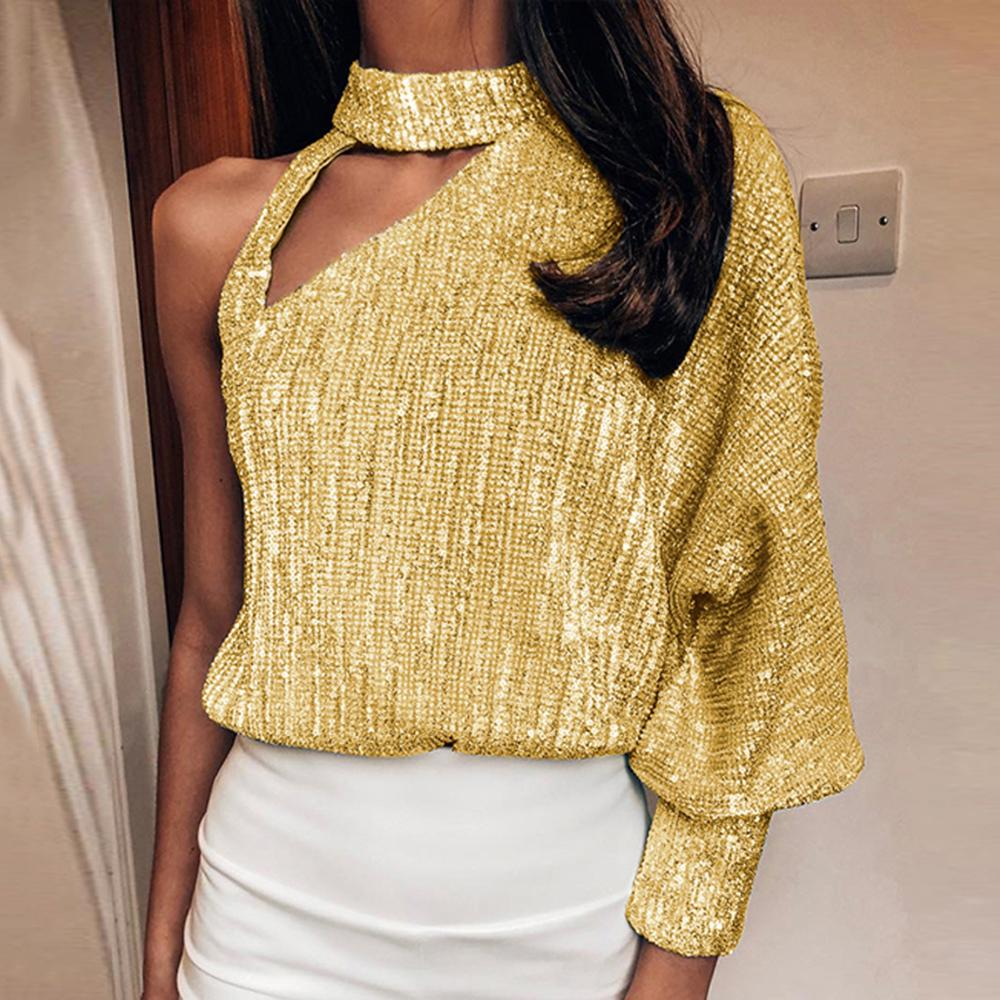 2020 New Autumn Women Blouses Sexy Off Shoulder Lantern Long Sleeve Sequin Tops Skew Collar Hollow Out Bright Shiny Party Shirts T200301