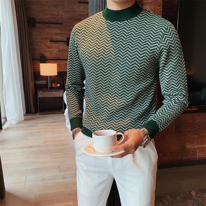 3 цветов свитер мужчины британский стиль осень зима мода волна полосатые пуловеры свитера для мужчин с длинным рукавом повседневная тяга Homme 201117