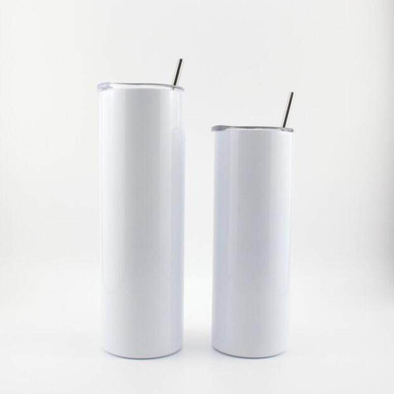 20oz sublimartion tumblers مستقيم مع القش غطاء المطاط القيعان الفولاذ الصلب بهلوان القهوة القدح التسامي الفراغات زجاجة المياه