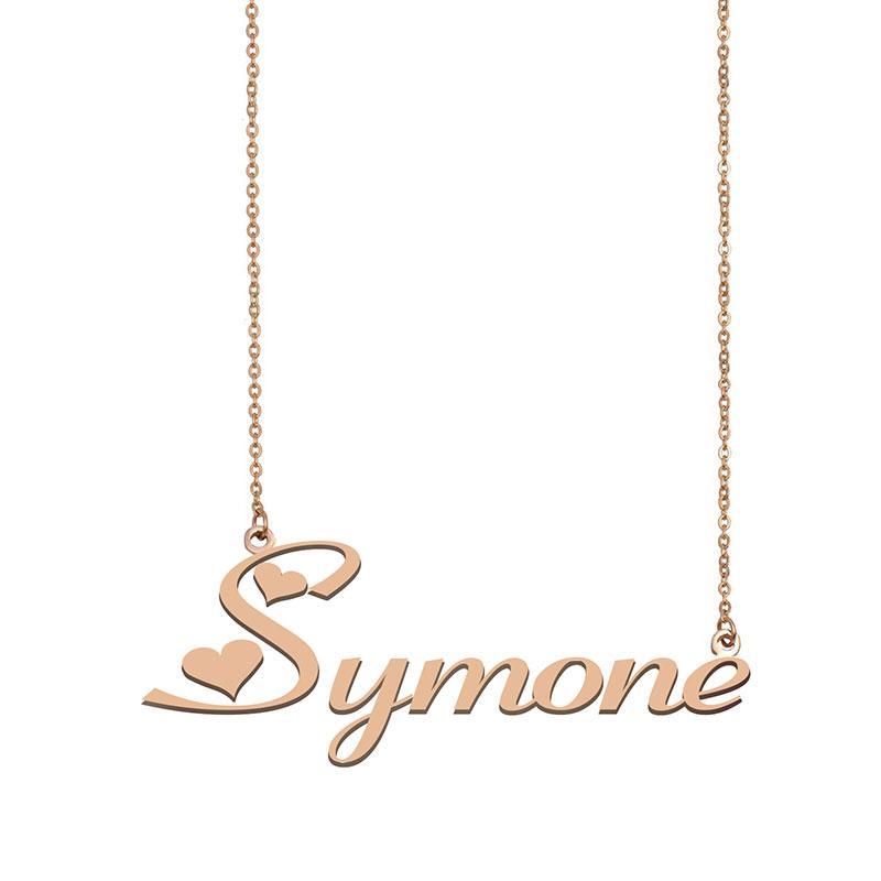 Symone Namenskette benutzerdefiniertes Typenschild Anhänger für Frauen-Mädchen-Geburtstags-Geschenk für Kinder Beste-Freunde-Schmucksachen 18k Gold überzogener Edelstahl