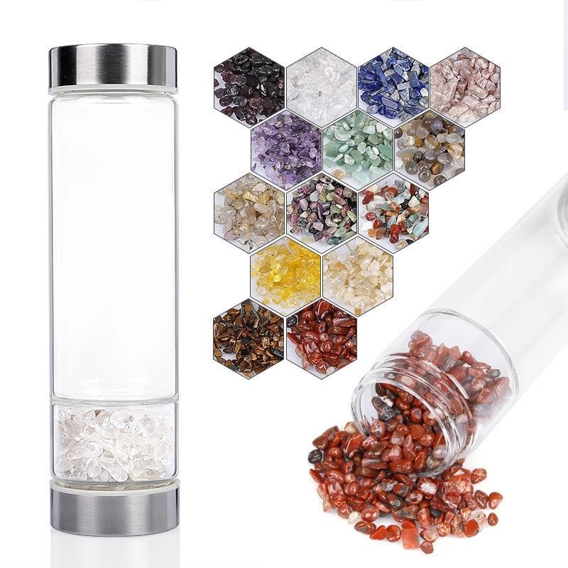 Botellas de elixir de cristal de 67 mm de diámetro, botella de agua de cristal multicolor, botella de agua de la energía del infusor de cristal de curación 201127