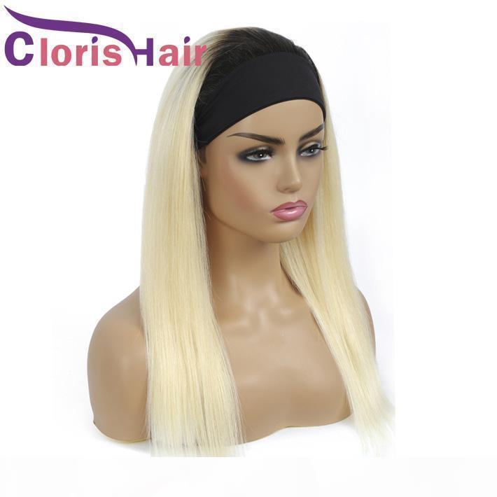 Темные корни блондинки оголовье парик 150% волосы человеческих волос прямые малазийские реми МИД без головы для черных женщин 1b 613 цветные шарф парик
