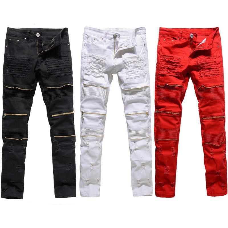 Модные мужские моды колледжа мальчиков тощий взлетни прямые молния джинсовые брюки уничтожены разорванные джинсы черные белые красные джинсы горячие продажи