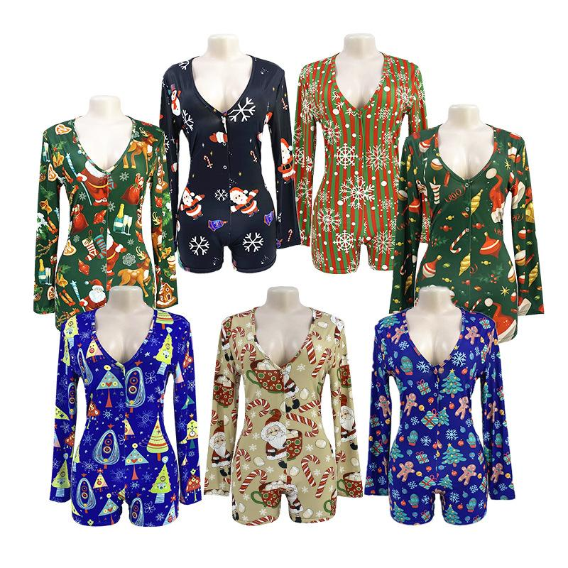 60 Cores Designer Mulheres Pajama Onesies Nightwear Playsuit Workout Botão Skinny Hot Imprimir Jumpsuits V-Pescoço Curto Onesies Romping DHL