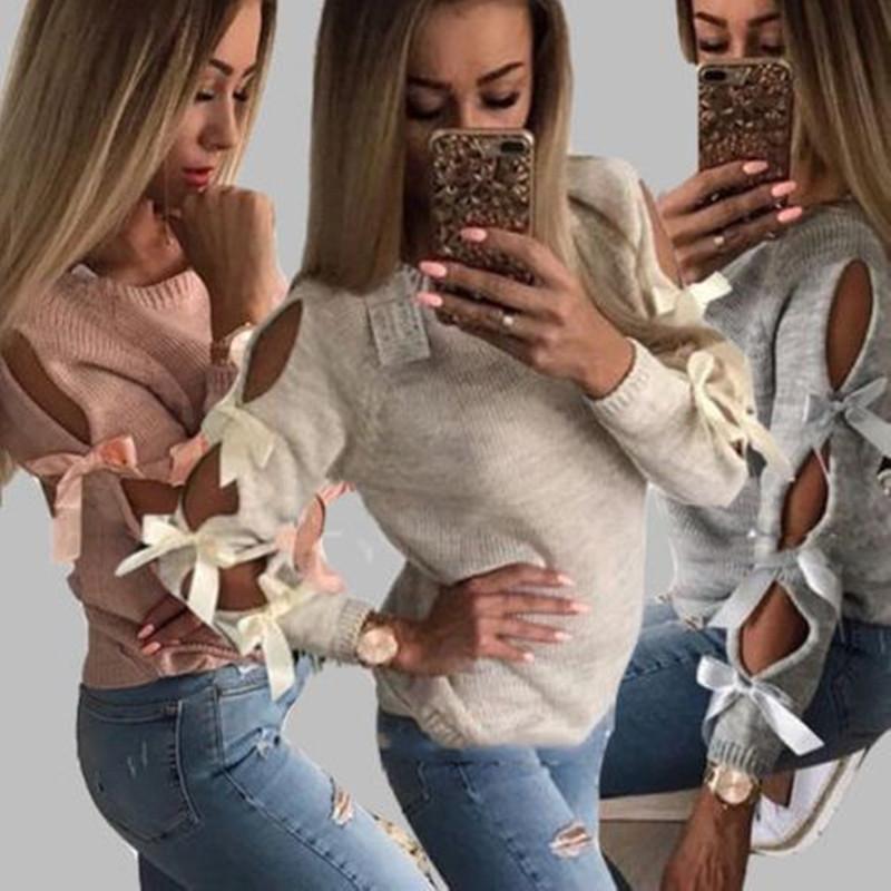 Aushöhlen Bogen Bandge Pullover Mode Strick Weibliche Kleidung Herbst-Winter-lange Hülsen-Normallack-Strickjacke