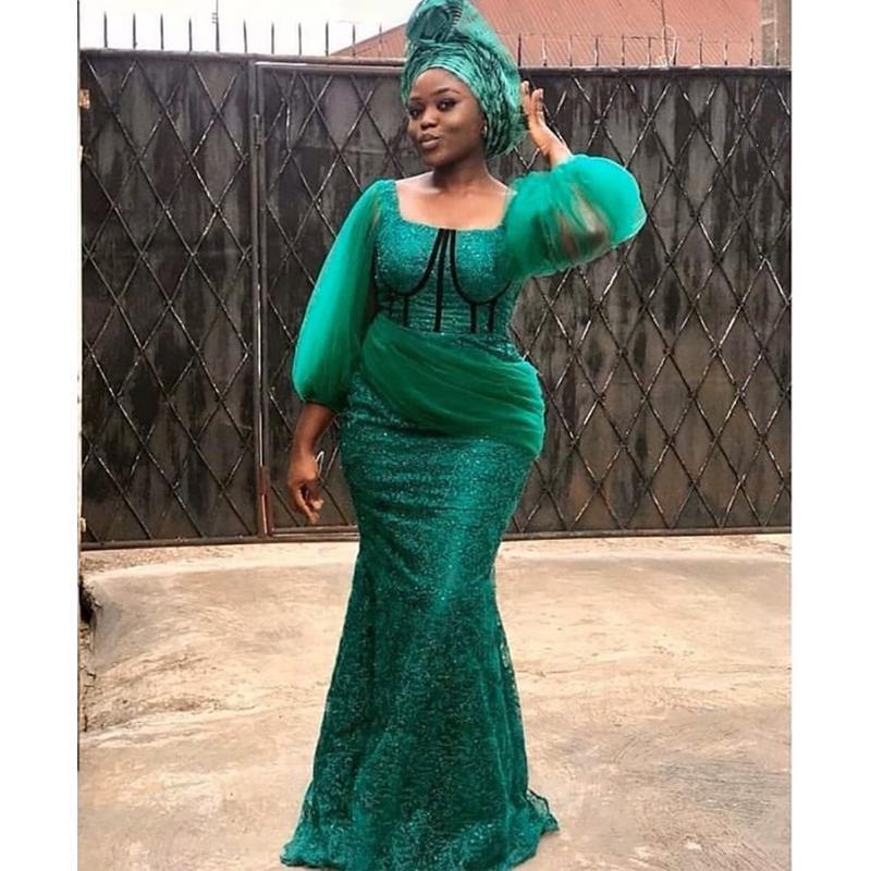 vestido formal Verngo Verde Mermaid Vestido Sexy mangas compridas partido do laço Prom Vestidos árabe vestido
