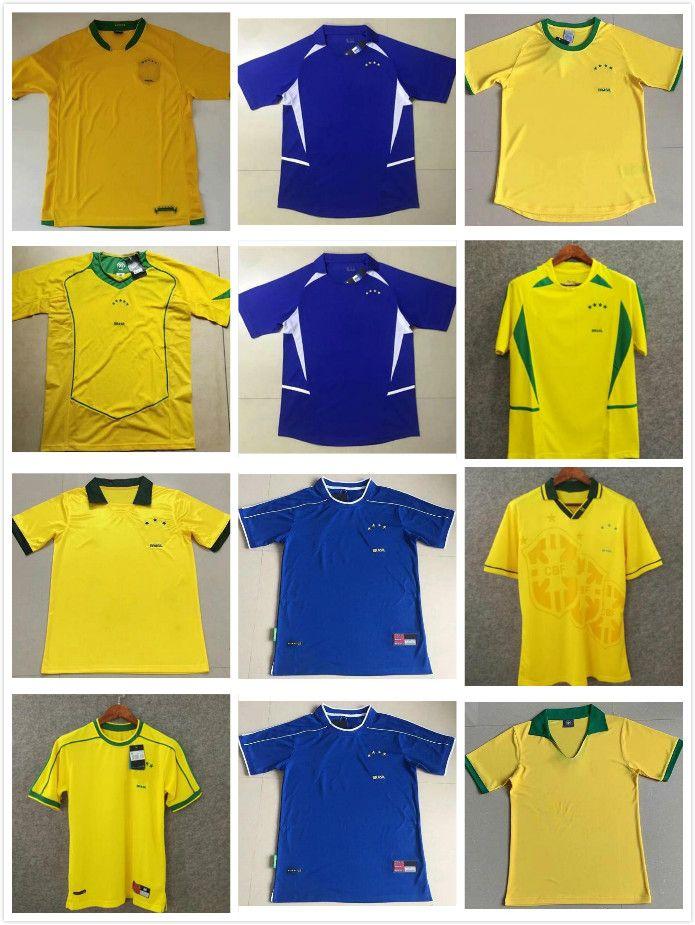 1998 Home Soccer Jerseys 2002 Rétro Zico Shirts Carlos Romario Ronaldo Ronaldinho 2004 Camisa de Futebol 1994 Bebeto 2006 Kaka