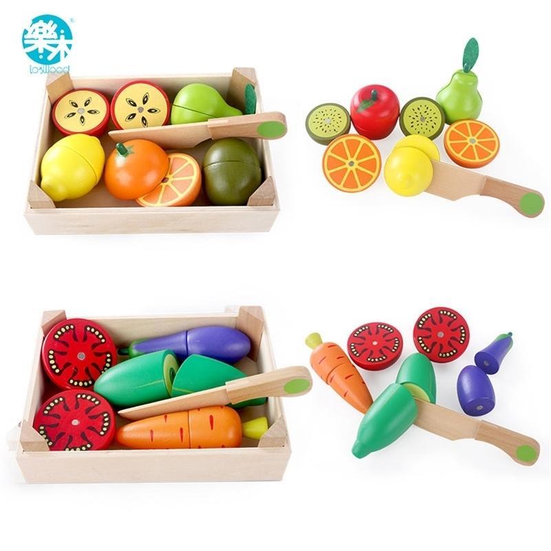 Holzküche Spielzeug Schneiden Obst Gemüse Spiel Miniatur Lebensmittel Kinder Holz Baby Early Education Lebensmittel Spielzeug LJ201211