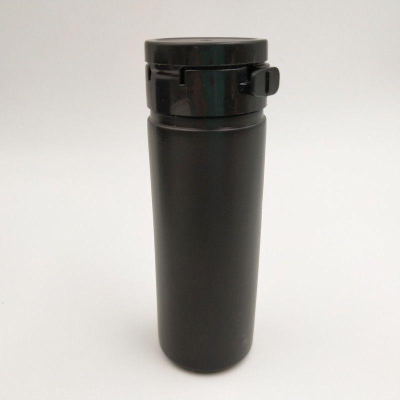 120 sztuk / partia 60ml HDPE Solidna czarna butelka pigułki z czapką rozrywającą Pusty plastikowy kapsułek przenośny pojemnik
