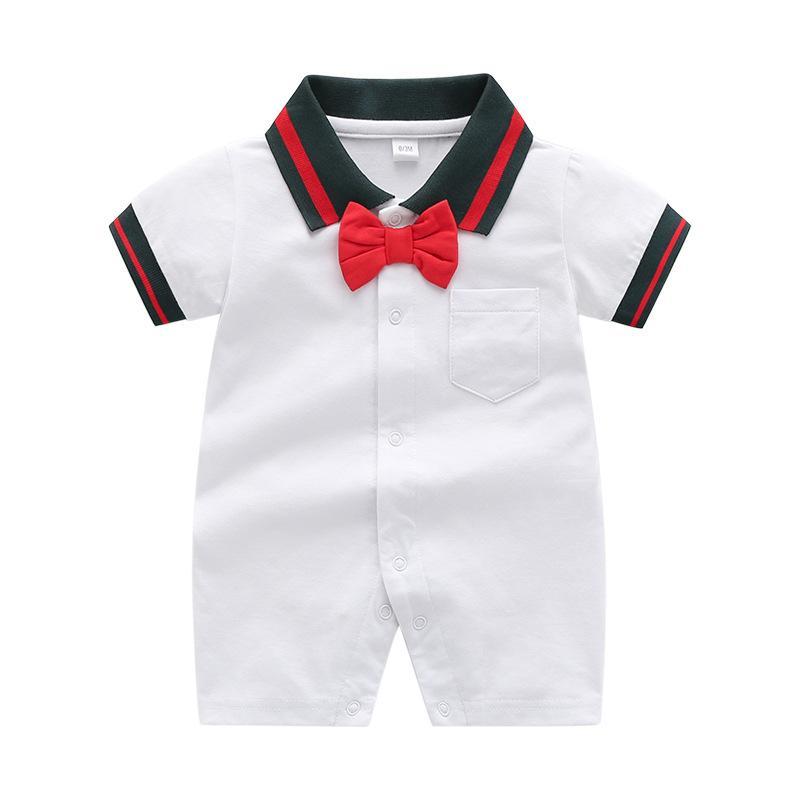 Summer Baby Boys Designer Momper Moda Raya Infantil Stripe de arco de manga corta Romper Caballero recién nacido Onesie Climb Ropa C6799