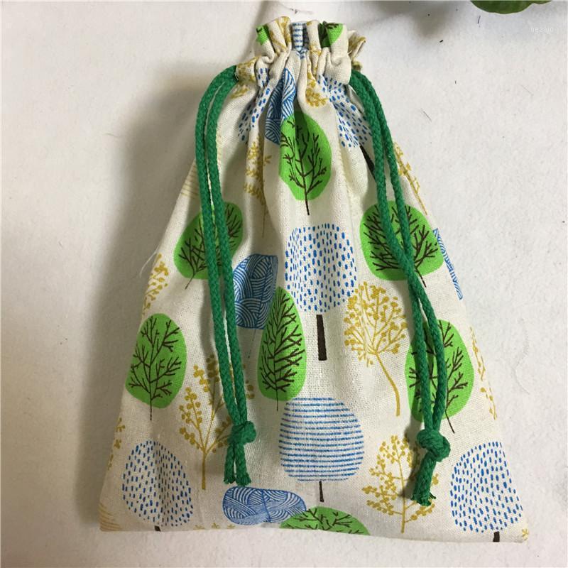 Presente Wrap 1 Pc Handmade Algodão Drawstring Multi-Propósito Organizador Bag verde Khski 8123G1