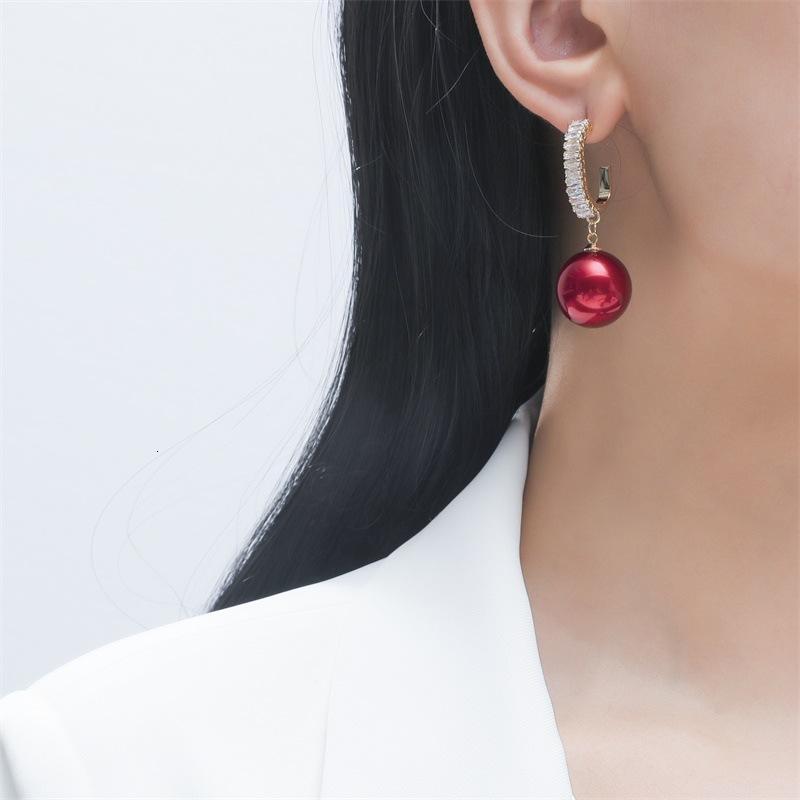 Fashion Pearl versátil brillo Zircon Pendientes coreanos, temperamento rojo neto simple, pendientes de aguja de plata