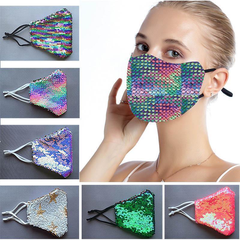 2020 Rainbow Fashion Bling Bling Saisances Masque de protection anti-poussière lavable Raimable Rédicile Masque de visage élastique Earboop Masque de la bouche FY9208