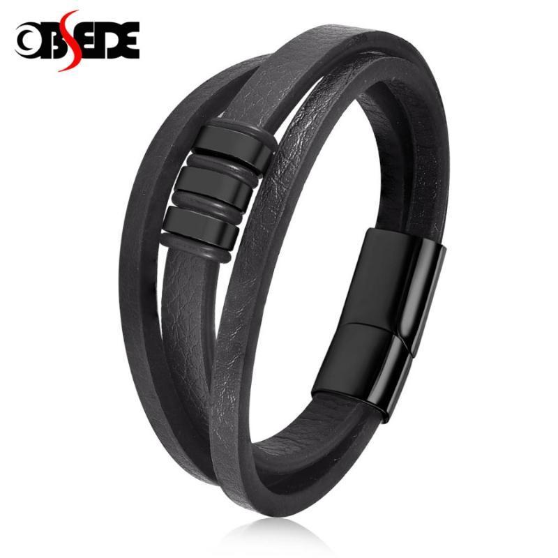 Pelle punk nero del braccialetto a più strati del braccialetto di uomini dell'acciaio inossidabile 316L catenaccio magnetico braccialetto di modo di fascino maschile gioielli regalo