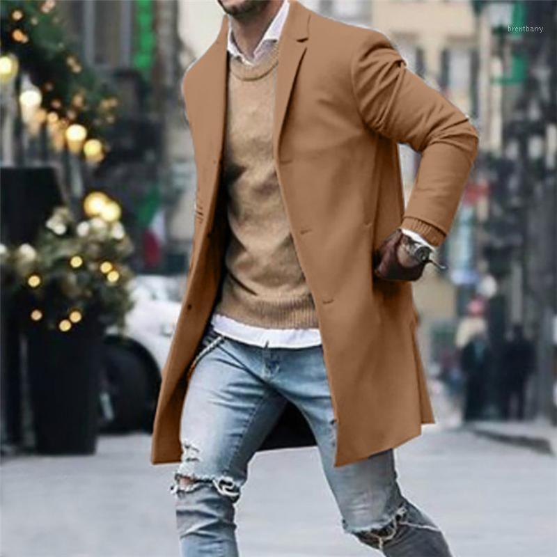 Casacos de Trench dos homens 2021 Cascas dos homens casuais botão de inverno do outono Slim manga comprida terno jaqueta casaco top blusa vintage mens vintage casacos1