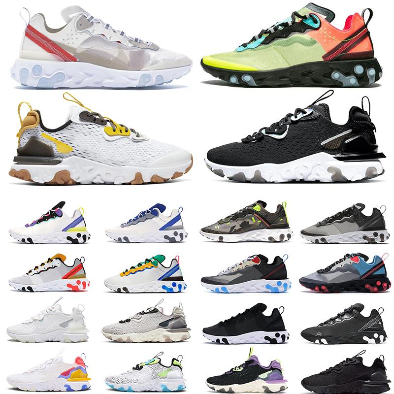 2020 React vision Element 55 87 tênis de corrida para homens mulheres Tour Yellow WHITE ROYAL RED triplo preto mens trainer sports sports sneakers