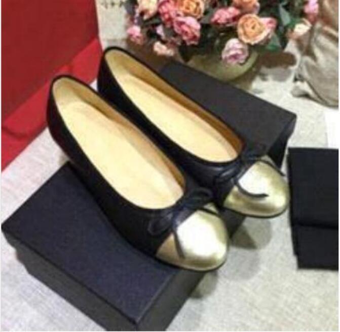 Yeni Kadın Elbise Throessize 34-42designer Hakiki Yumuşak Deri Rhombic Bayanlar Yay Ayakkabı Lüks Mektup Klasik Şerit Koyun Derisi Düz Tekne Ayakkabı