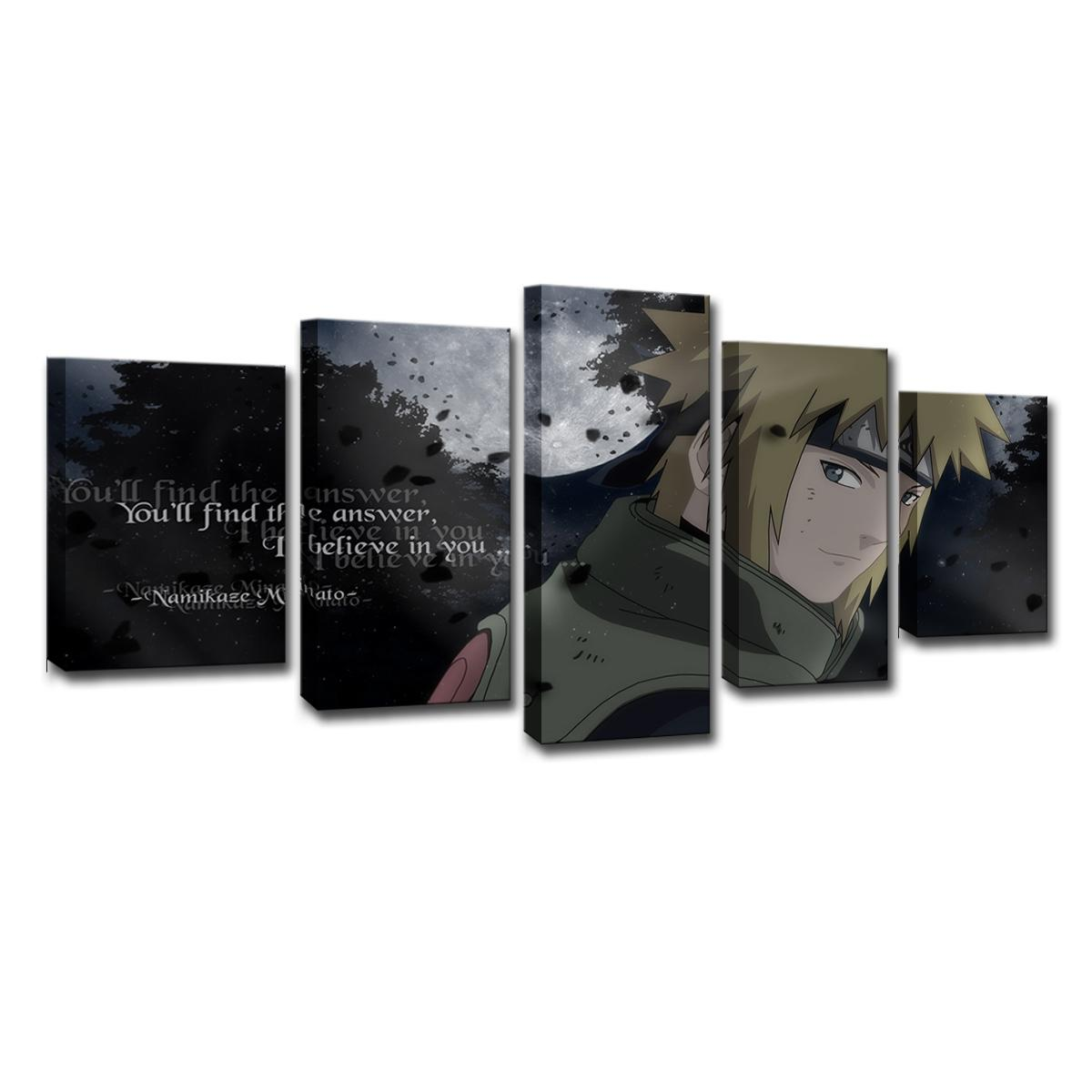 Painting Canvas Wall Art Modular Picture Home Decor Modern Painting Artwork 5 Panels Animated Naruto Living Room Canvas Printing