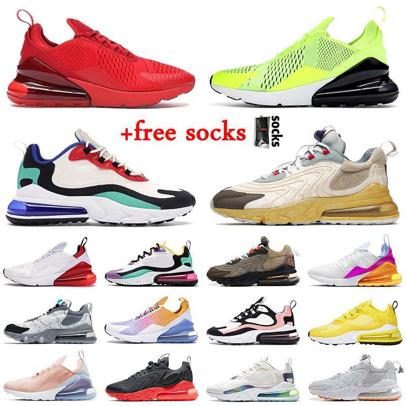 New Quality 270 React ENG Running Shoes Travis Scott Cactus Trails Bauhaus Blue University Red Volt Tennis Sport Men Women Trainers Sneakers