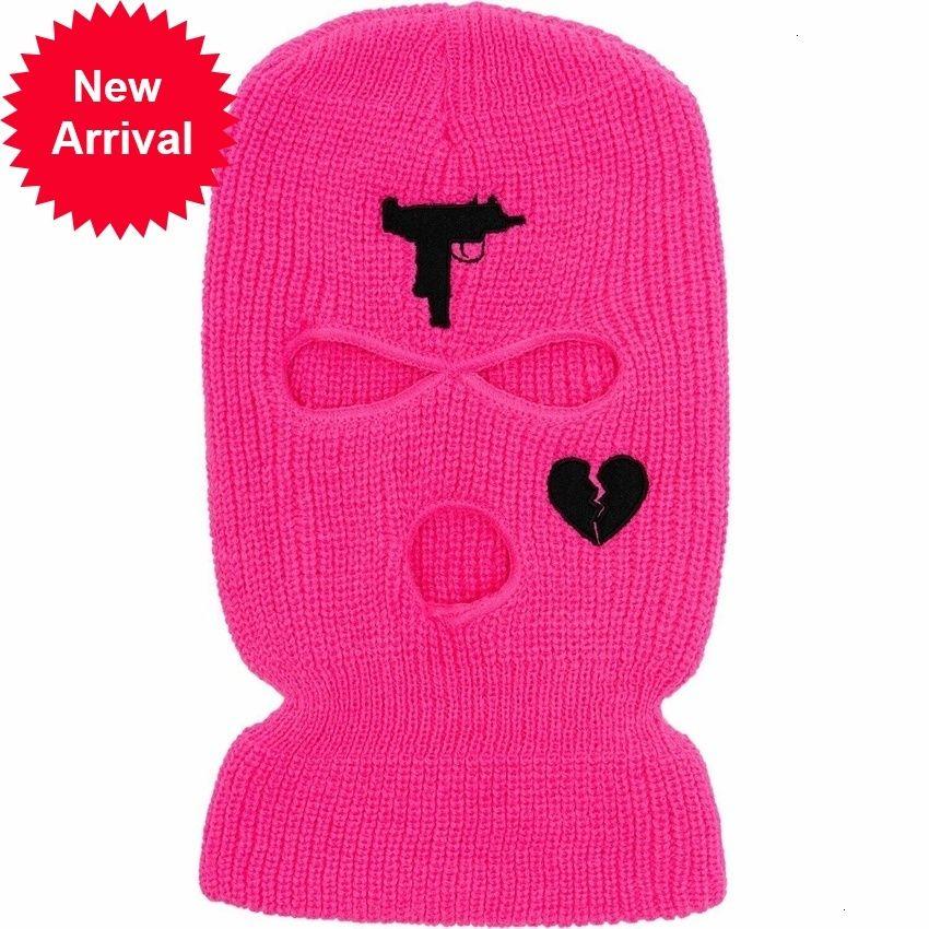 네온 핑크 컬러 마스크 도매 저렴한 뜨개질 모자 사용자 정의 수 놓은 니트 스키 마스크 3 홀 Balaclava LQ65